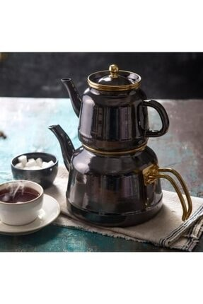 Emsan Troy Emaye Çaydanlık Takımı Siyah 600.03.01.0050