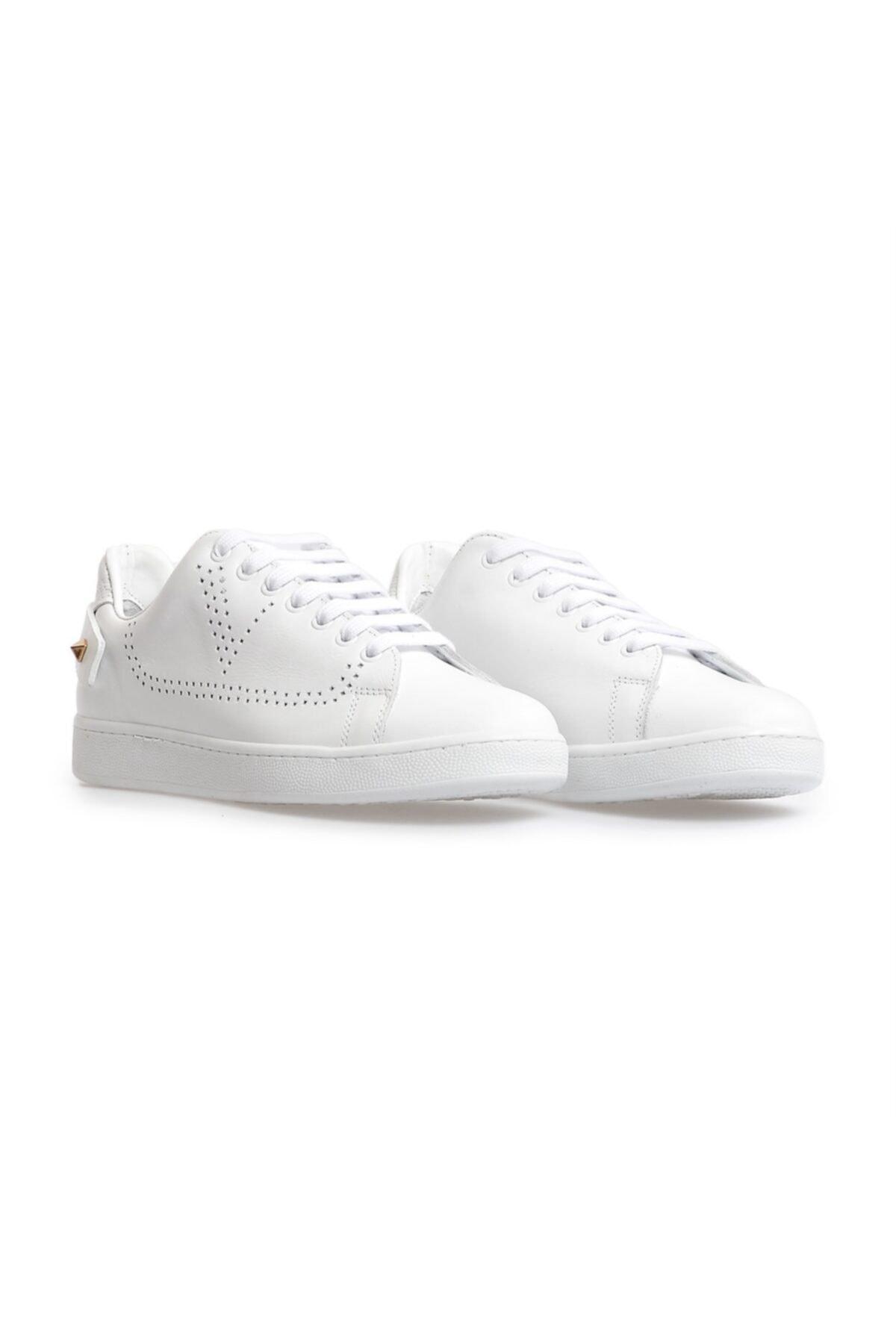 Flower Beyaz Trok Detaylı Bağcıklı Sneakers 2