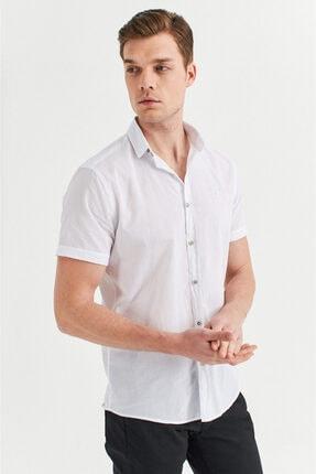 Avva Erkek Beyaz Düz Düğmeli Yaka Slim Fit Kısa Kol Vual Gömlek A01s2210