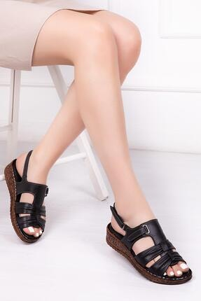 Deripabuc Hakiki Deri Siyah Kadın Deri Sandalet Crz-0542