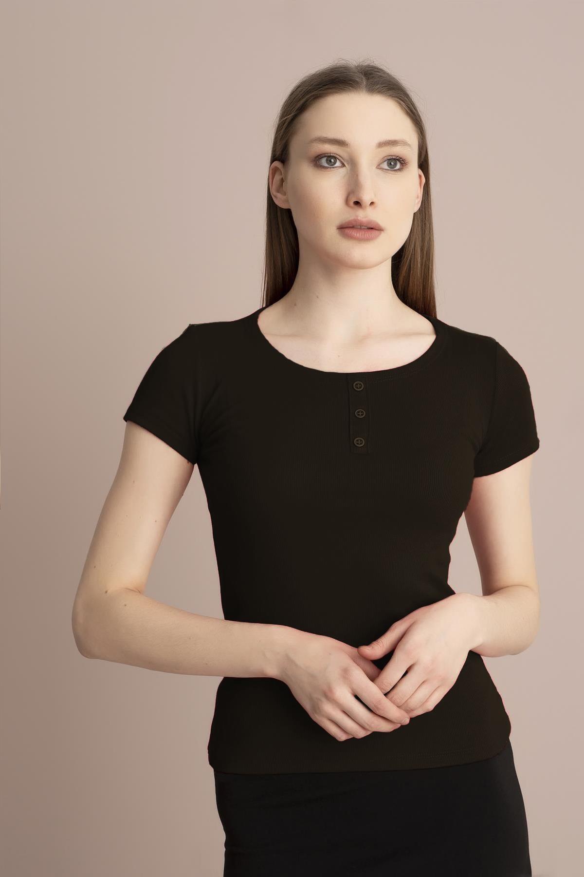 TENA MODA Kadın Haki Kısa Kollu Kaşkorse Önü Batlı Bluz 2