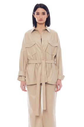 Manche Bej Kadın Deri Gömlek   Mk21w163156