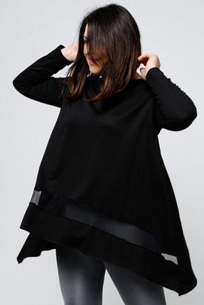 Ebsumu Kadın Büyük Beden Eteği File Detaylı Asimetrik Kesim Uzun Kollu Siyah Bluz