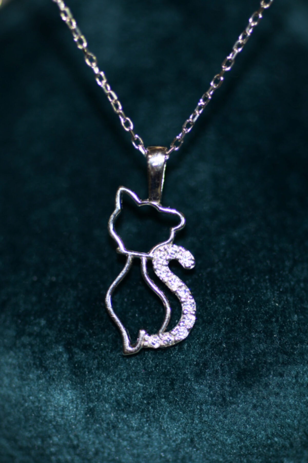 Manolia Silver Zirkon Taşlı Kedi Kolye 1