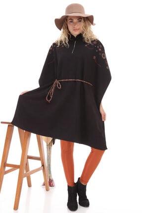 FTZ Belden Kuşaklı Panço - Siyah