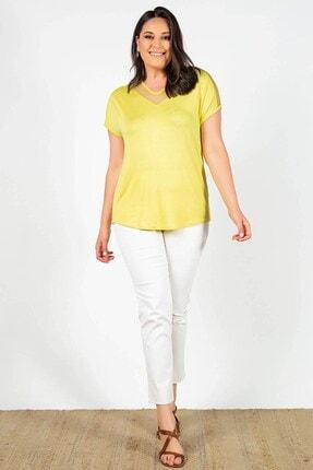 Womenice Büyük Beden Sarı Yakası Kolu Tüllü Bluz