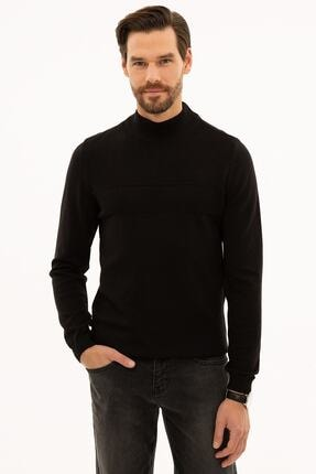 Pierre Cardin Erkek Siyah Slim Fit Yarım Balıkçı Yaka Triko Kazak G021SZ0TK.000.1217032