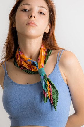 ZE Art Design Deri Aksesuarlı Pileli Fular