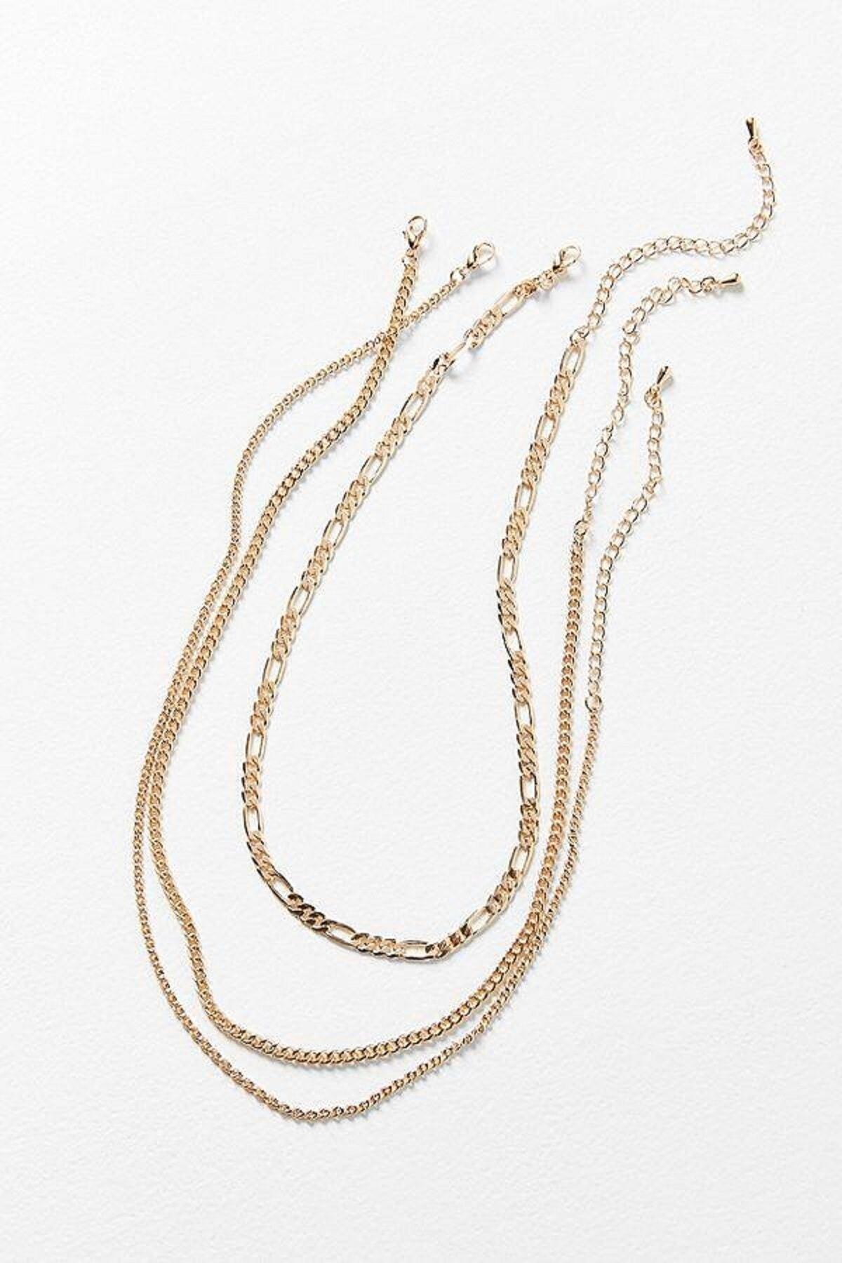 X-Lady Accessories Kadın Altın Zincir Seti 2