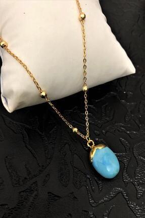 Dr. Stone Dr Stone Golden Firuze Taşı 22k Altın Kaplama El Yapımı Kadın Kolye Tkrb15