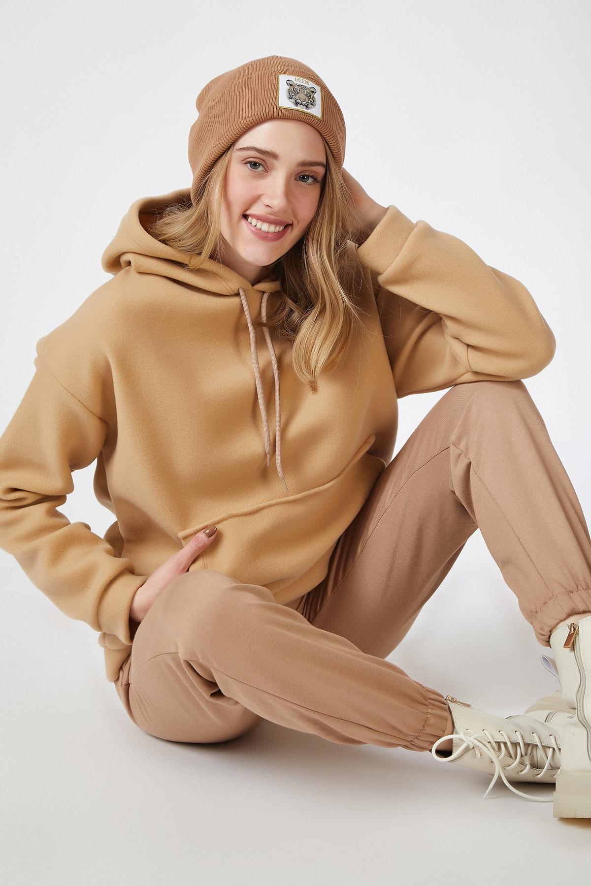 Happiness İst. Kadın Bisküvi Kapüşonlu Kışlık Polar Sweatshirt ZV00047 1
