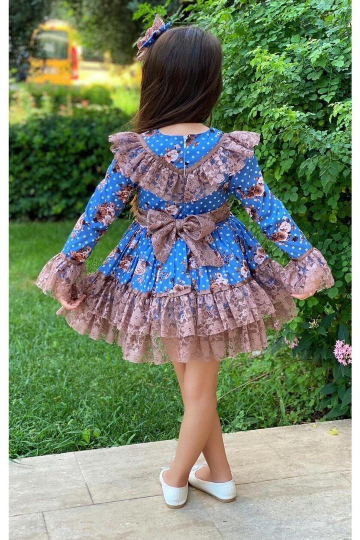 Riccotarz Kız Çocuk Çiçek Dantelli Puanlı Mavi Elbise 2