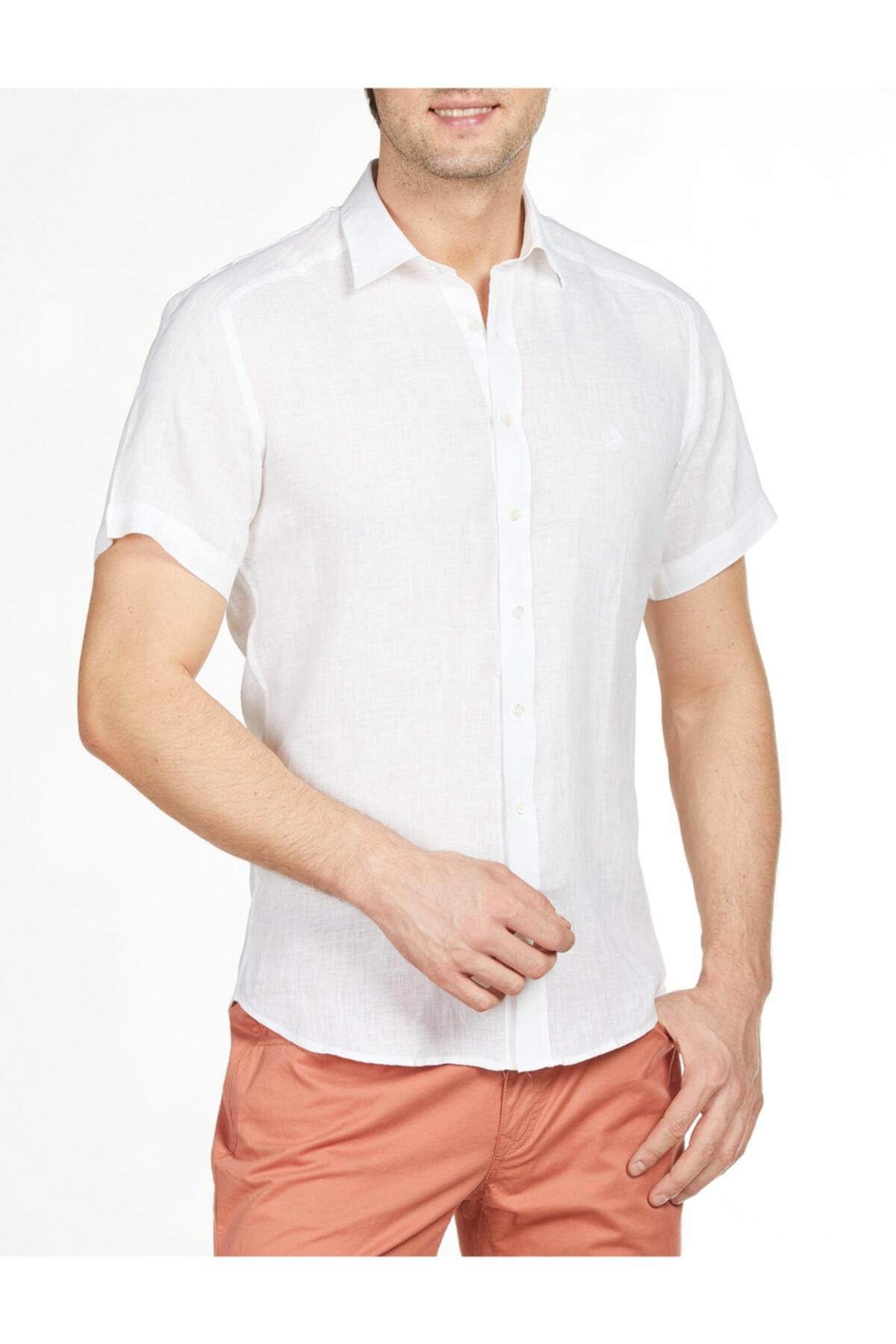 Bisse Regular Fit Kısa Kollu Keten Gömlek 1