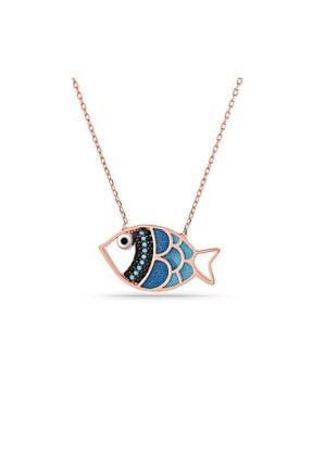 MySilvers Mavi Mineli Gümüş Balık Kolye Kadın Rose