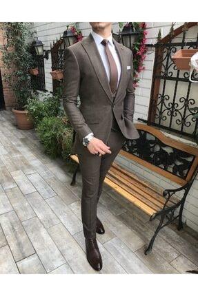 TerziAdemAltun Italyan Stil Ceket Yelek Pantolon Takım Elbise Kahve T4064