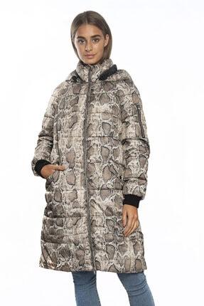 Vero Moda Desenli Kapişonlu Uzun Mont 10217760