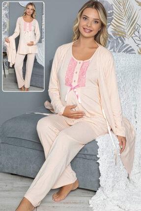 HAYAL Sabahlıklı Lohusa Pijama Takımı Jenika 42294 3lü Sabahlıklı Hamile Pijaması
