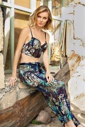 Anıl Kadın Çiçekli Viskon Push Up Bralet Mavi Pijama Takım