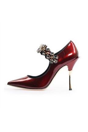 Flower Bordo Taşlı Abiye Ayakkabı