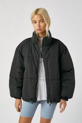 Pull & Bear Fermuarlı Kayık Yaka Şişme Ceket