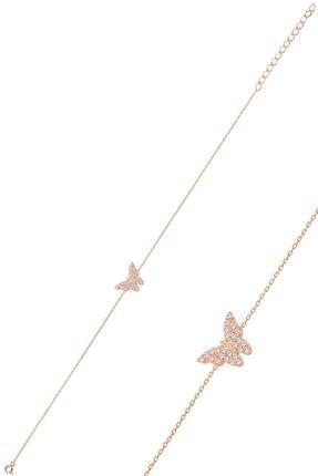 Söğütlü Silver Gümüş Rose Zirkon Taşlı Kelebek Bileklik