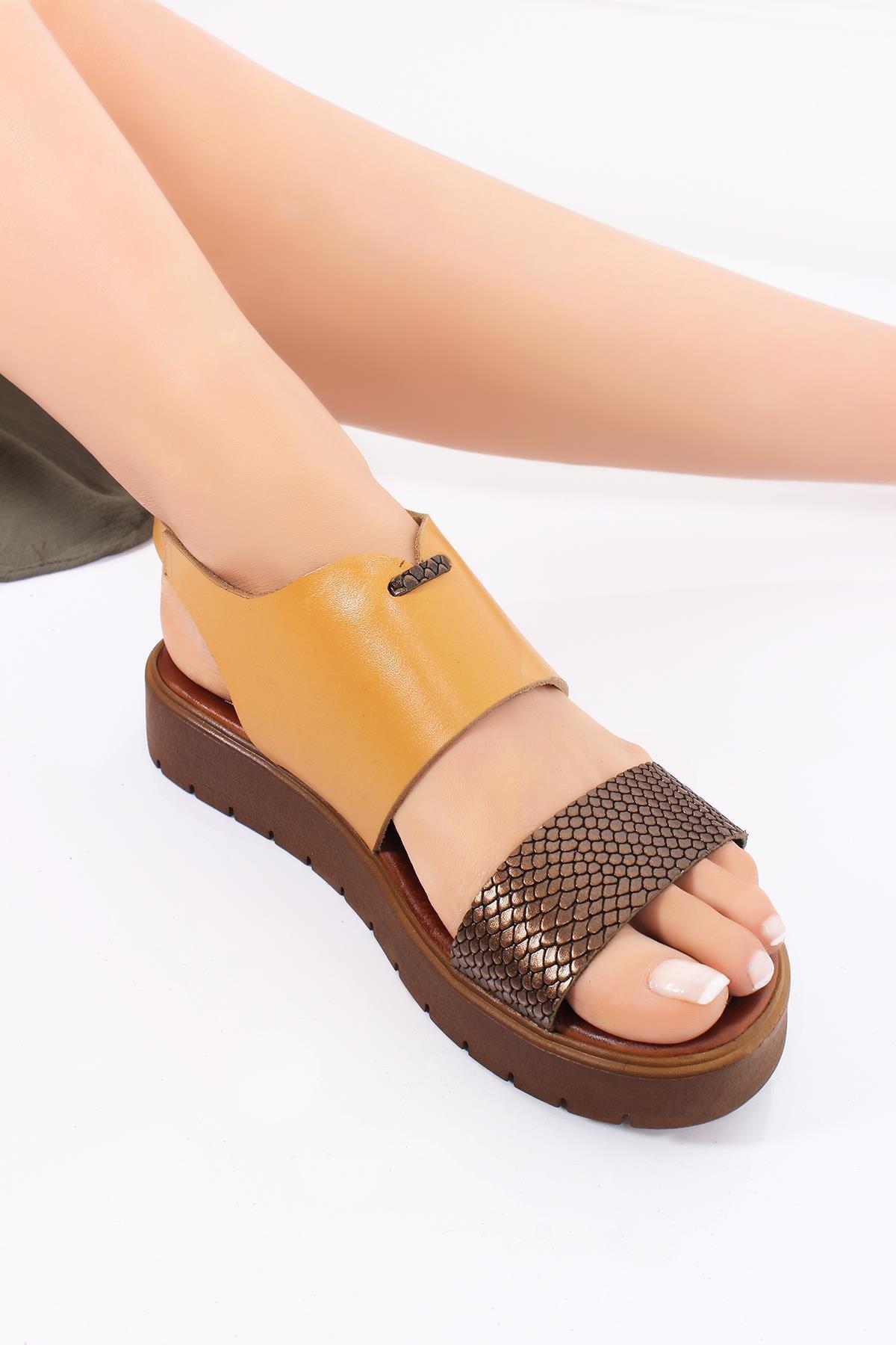 Deripabuc Hakiki Deri Havana Kadın Deri Sandalet DP-0093 1