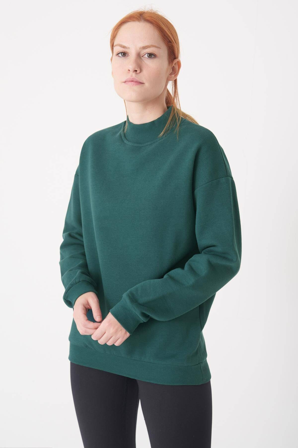 Addax Kadın Koyu Yeşil Yarım Balıkçı Yaka Sweat S8606 - I4 - I5 ADX-0000019754 1