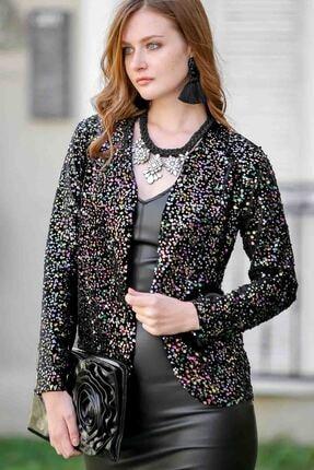 Chiccy Vintage Işıltılı Pul Payetli Cepken Ceket