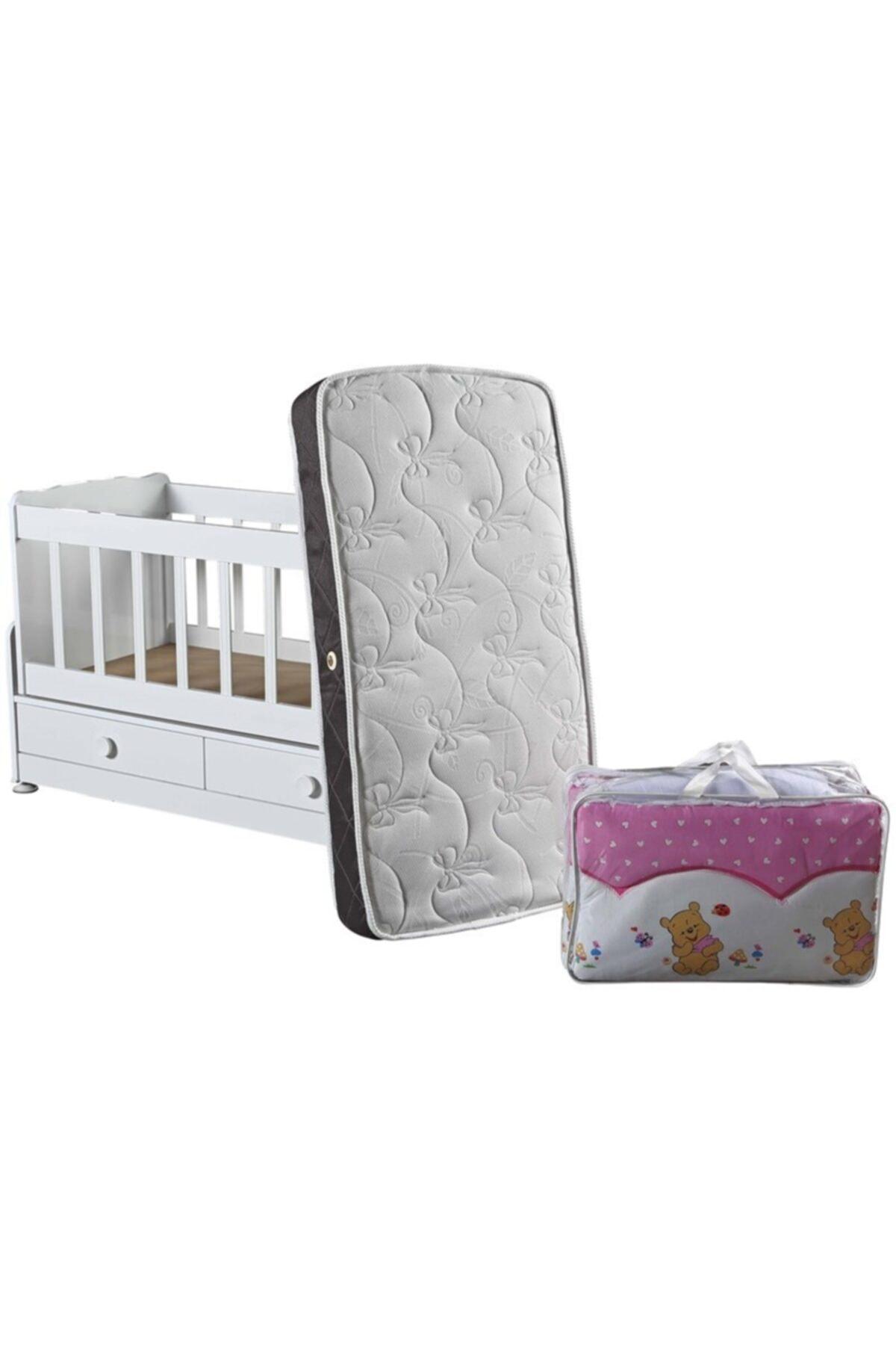 Diverso Home Çekmeceli Sallanır Anne Yanı Ahşap Bebek Beşiği 2
