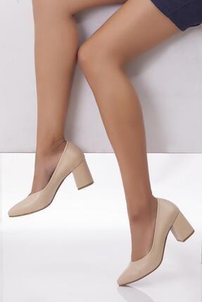 Deripabuc Hakiki Deri Bej Kadın Topuklu Deri Ayakkabı Shn-1930