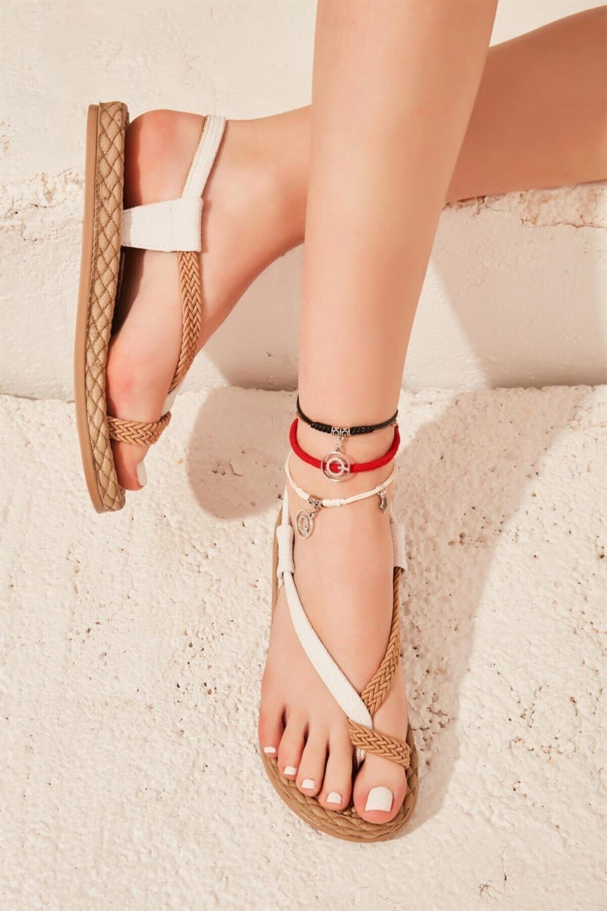 Bambi Beyaz Kadın Sandalet L0823130016 1