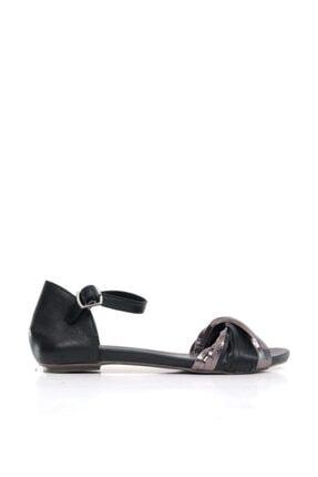 BUENO Shoes Şeritli Hakiki Deri Kadın Düz Sandalet 9n0801