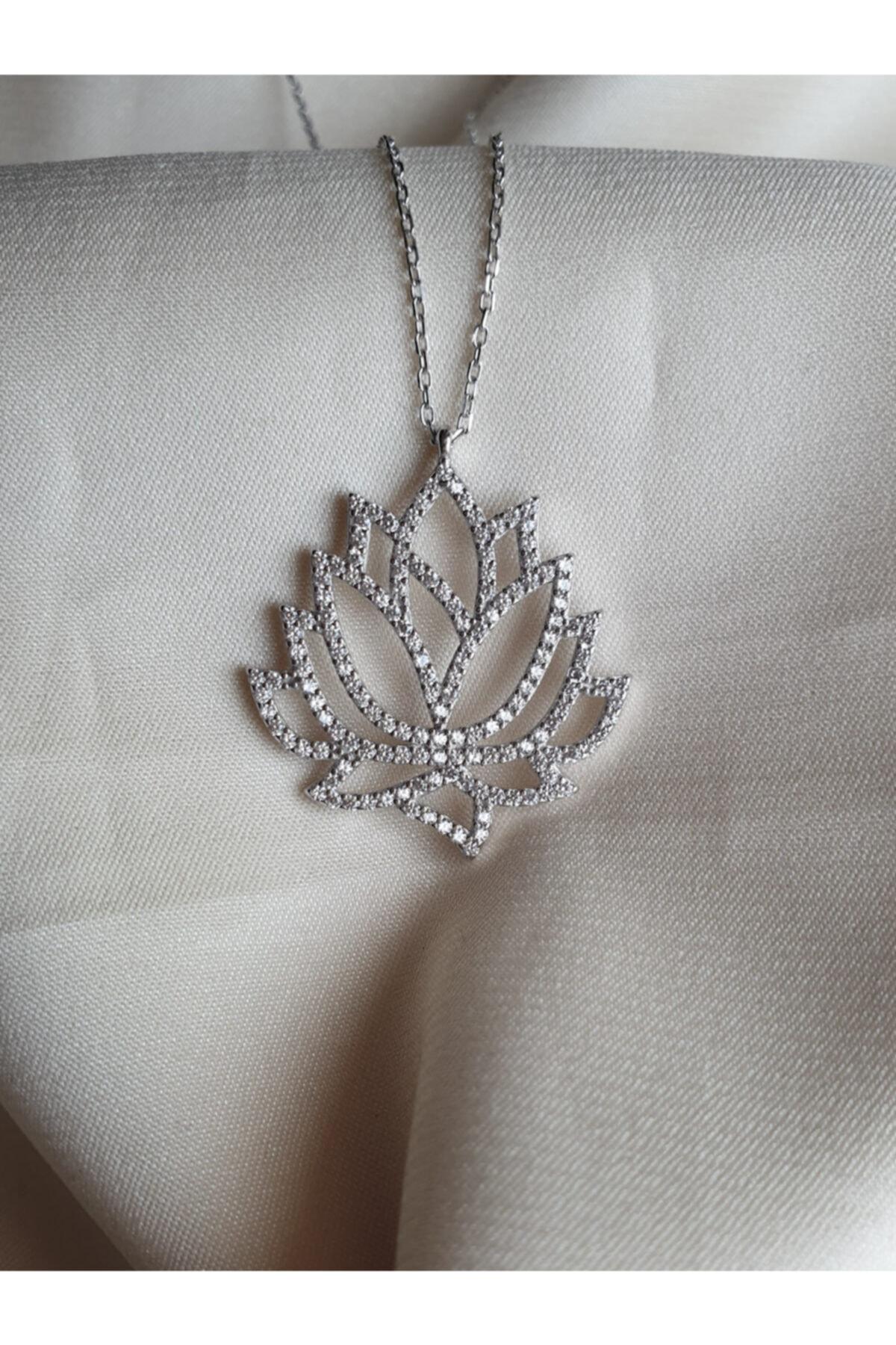 AME SOEUR 925 Ayar Gümüş Lotus Kolye 2