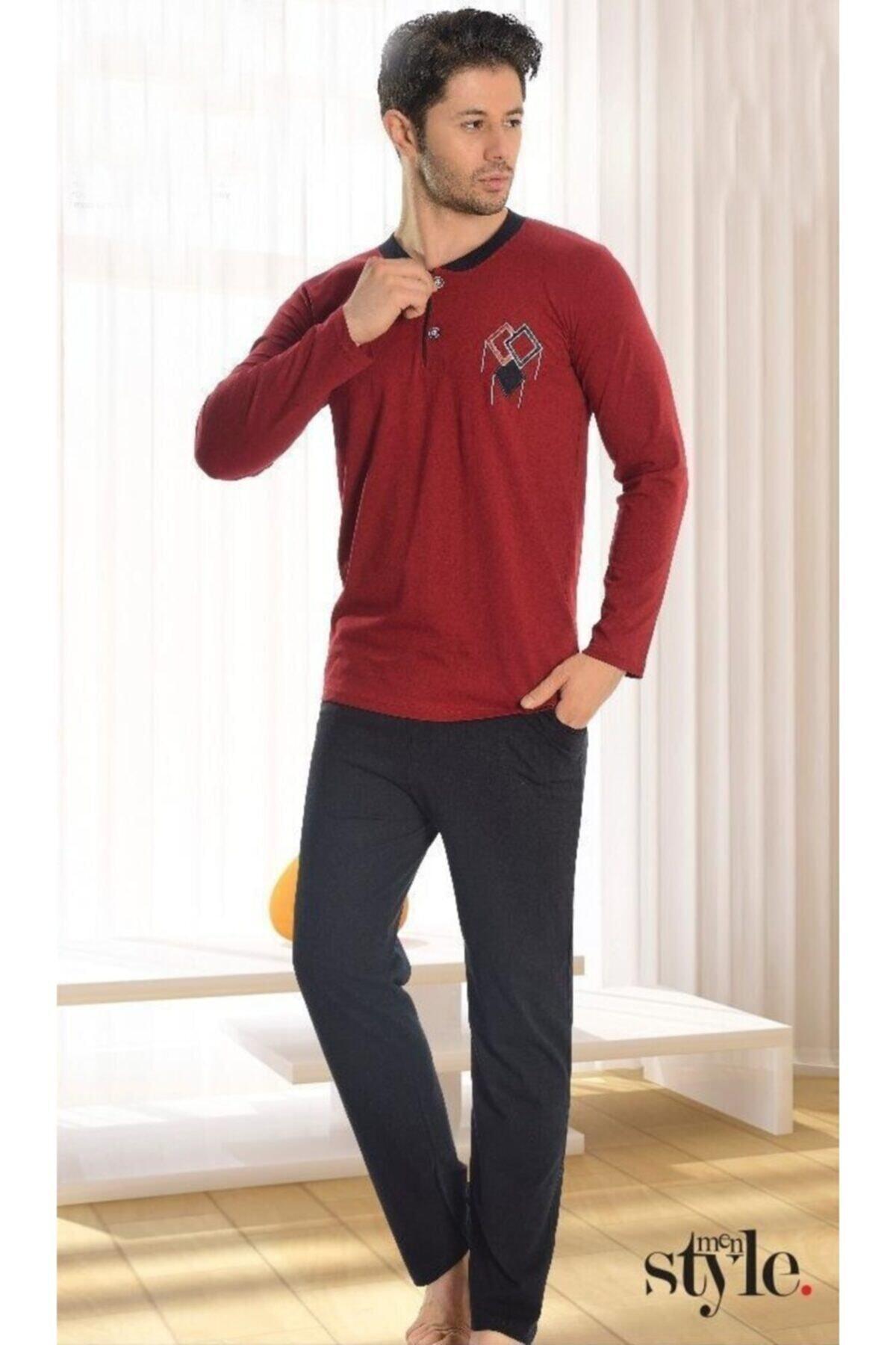 ScorpLion Erkek Bordo Uzun Kollu Düğmeli Yaka Pijama Takımı 1