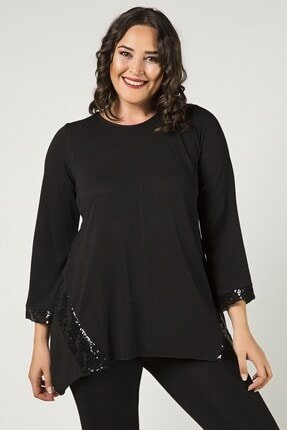 Womenice Büyük Beden Siyah Kolu Eteği Pul Payet Bluz