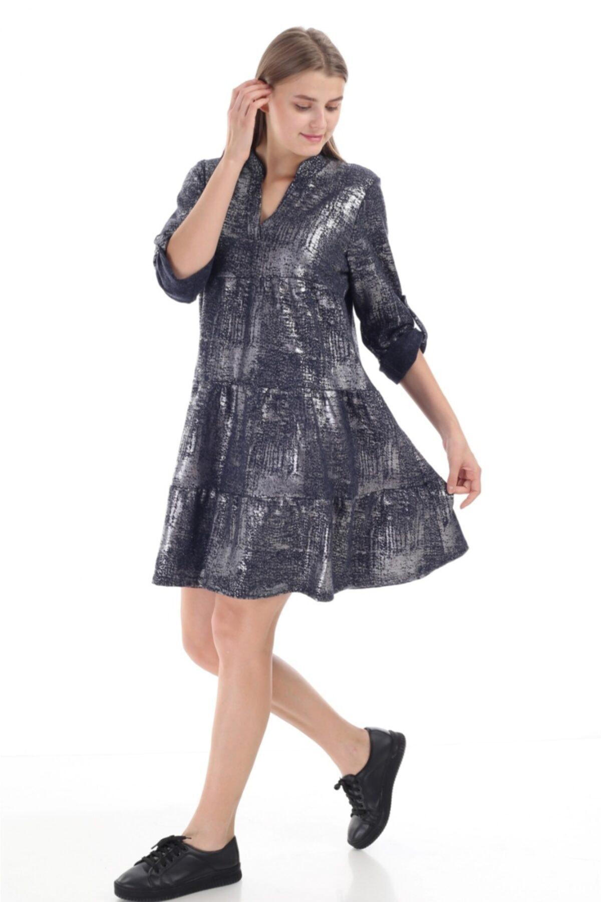 FD Fast Kadın Ithal Lacivert Sim Detaylı Italyan Model Elbise 16012 1