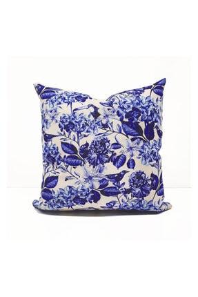 Dekorinyo Mavi Soft Ortanca Çiçekleri Desenli Kırlent Kılıfı