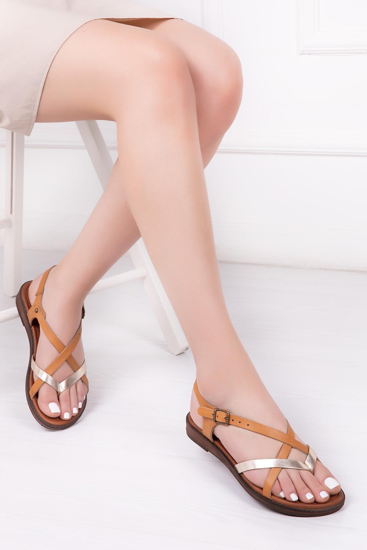 Deripabuc Hakiki Deri Havana Kadın Deri Sandalet DP-0071 1
