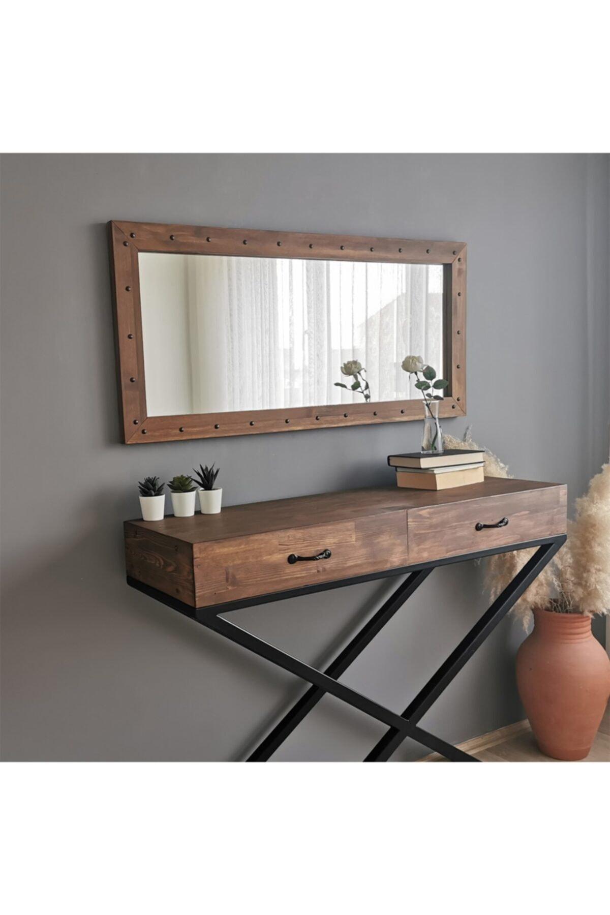 NEOstill - Ahşap Zımbalı Ceviz Ayna 110x50 2