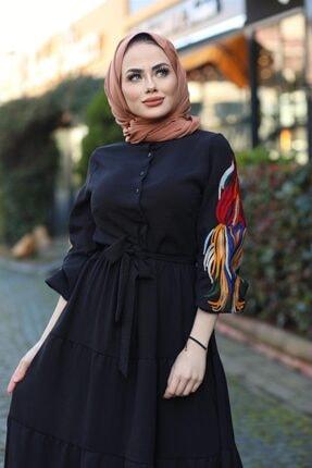 Moda Ekru Kol Nakış Detaylı Elbise Siyah 532