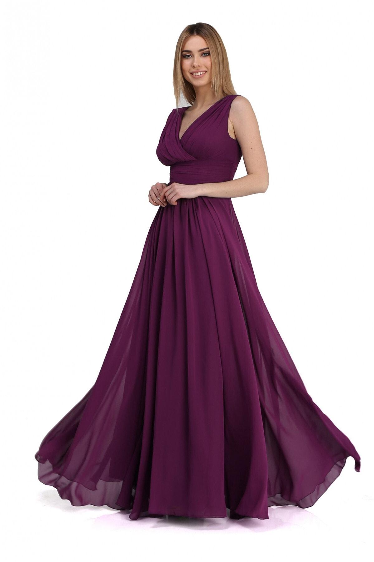Pierre Cardin Carmen Mürdüm Şifon V Yaka Uzun Abiye Elbise 1