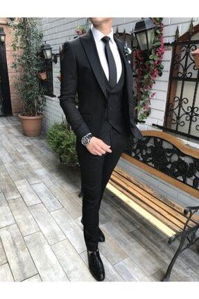 TerziAdemAltun Italyan Stil Slim Ceket Yelek Pantolon Siyah Takım Elbise T3689