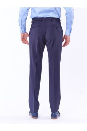 Dufy Lacivert Düz Bez Ayağı Dokuma Kumaş Erkek Pantolon - Regular Fıt