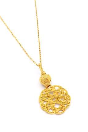 Akyüz Gümüş Altın Yaldızlı Aşk Düğümü Kazaziye Gümüş Kolye 102
