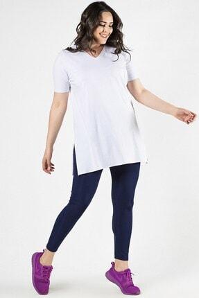 Womenice Büyük Beden Beyaz Yırtmaçlı Bluz