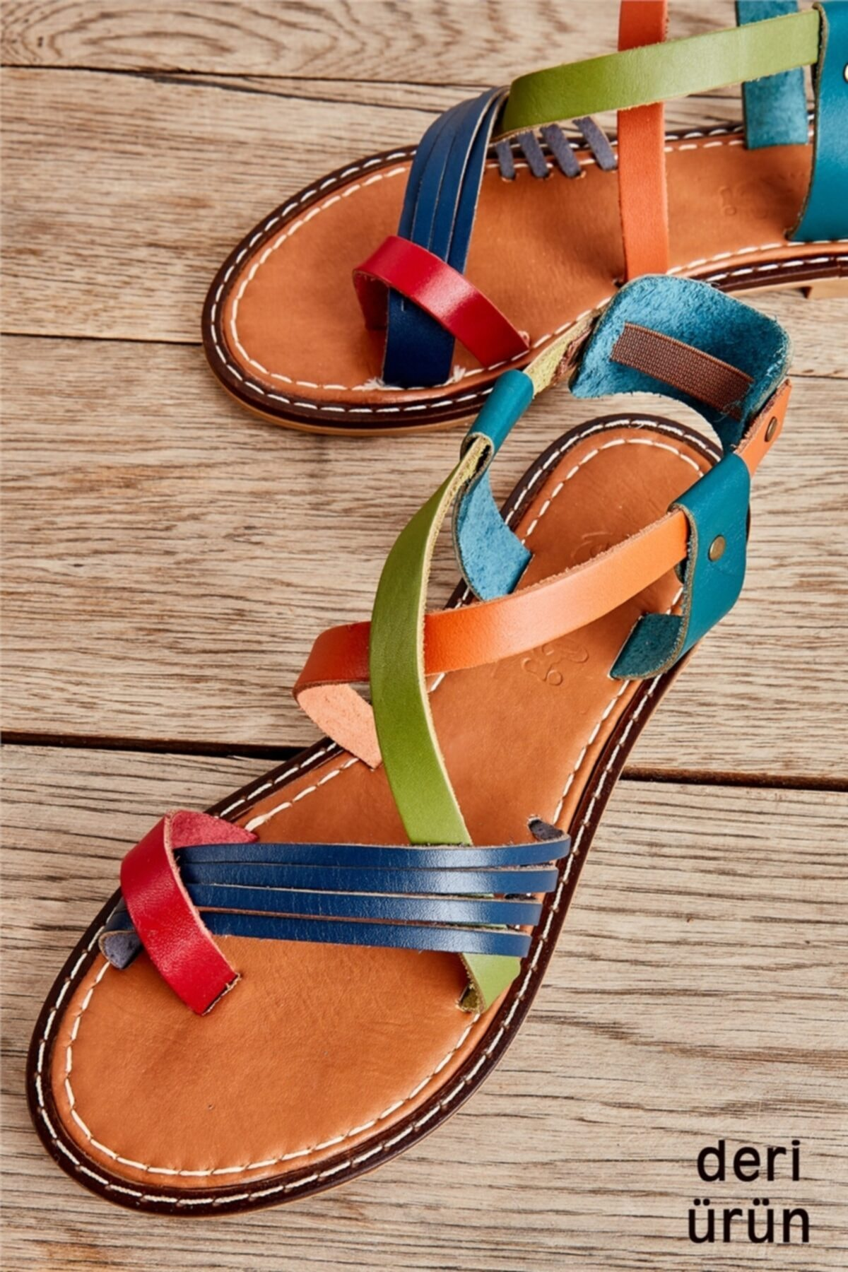 Bambi Hakiki Deri Çok Renkli Kadın Sandalet K05602808503 1
