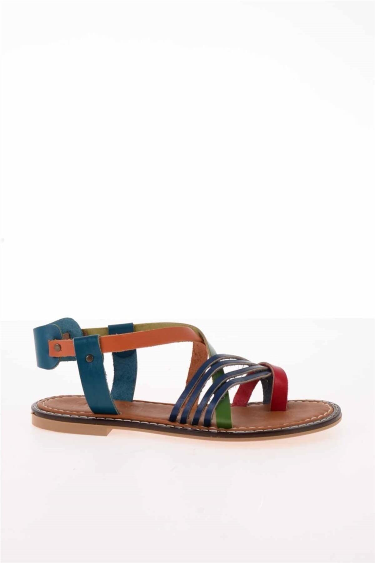 Bambi Hakiki Deri Çok Renkli Kadın Sandalet K05602808503 2