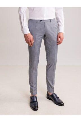 Dufy Gri Desen Detaylı Likra Karışımlı Erkek Pantolon - Slim Fit