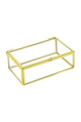 Ahşap Fikir Yüzük Kutusu Cam Kutu Midi Gold