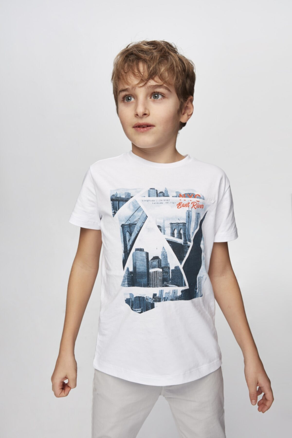 Nebbati Erkek Çocuk Beyaz T-shirt 1